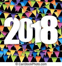 garlands background New Year 2018 - background with colored...