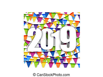 garlands background New Year 2019 - background with colored...