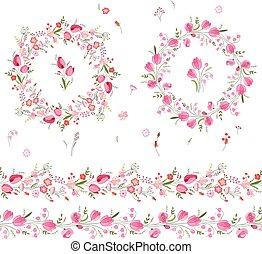 garlands, floral tervezés, köszönés, söpör, tulipánok, ...
