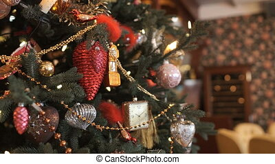 Garlands glowing on the Christmas tree