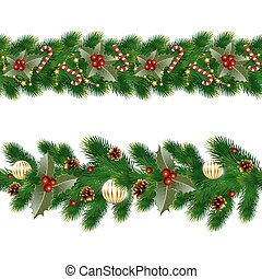 garlands of fir tree - Christmas decorations with fir tree...