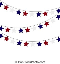 Garlands of red blue stars on a white background.