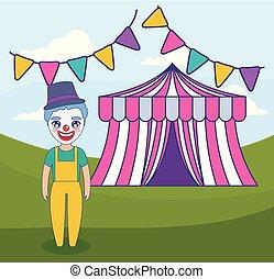 garlands, tenda circus, pagliaccio, appendere