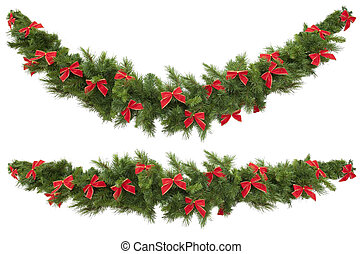 Garlands with Bows - Christmas garlands decorated with red...