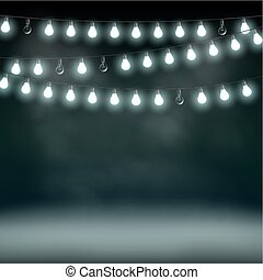 Garlands with bulbs on a dark background. Glowing lights.