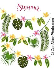 Garlands with tropical leaves and flowers