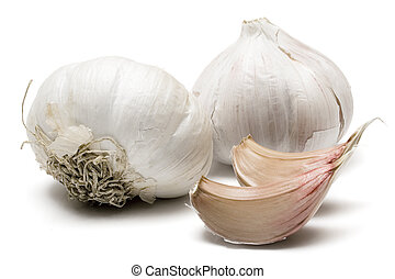 Garlic against white background.