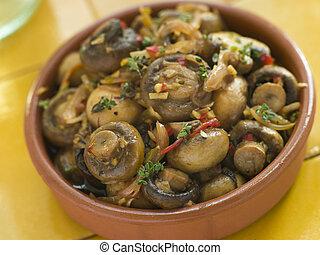 Garlic and Chilli Marinated Mushrooms