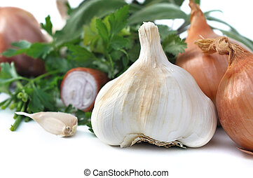 garlic and herbs - close on a garlic with other aromatics...