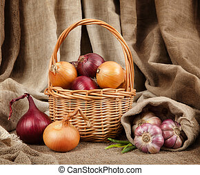 Garlic and onion in basket