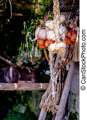 garlic and onions hung twisted in a cave