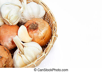 garlic and onions in a basket