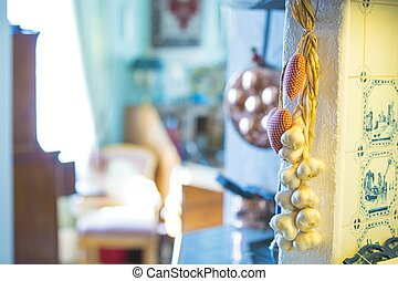 Garlic and textil heart decorations in the kitchen - Garlic...