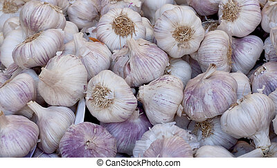 Garlic background in the maket at the Grenoble, France.