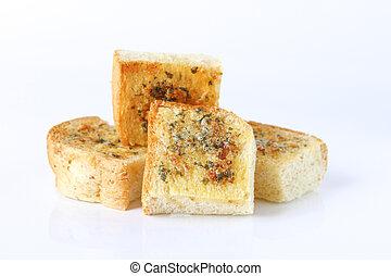 Garlic bread on white background.