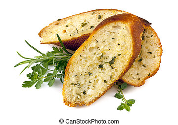 Garlic Bread with Herbs Isolated - Garlic bread with herbs,...