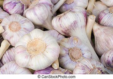 Garlic bulbs seen at the market