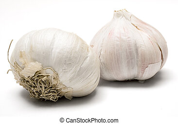Garlic Bulbs - Two garlic bulbs against white background.