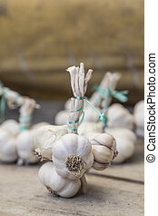 Garlic bunches on a wooden surface