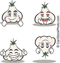 garlic cartoon character set collection