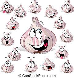 garlic cartoon head with many expressions