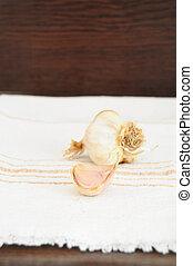 Garlic clove - Garlic and garlic clove on white cloth
