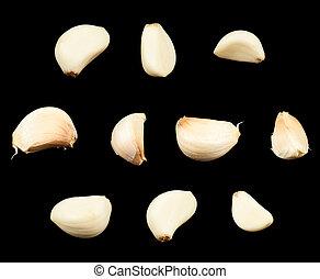 Garlic cloves isolated - White garlic cloves isolated over...