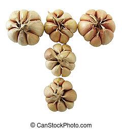 Garlic cross shape on white backgrond