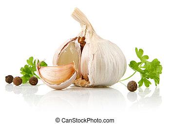garlic fruit with parsley spice isolated on white background
