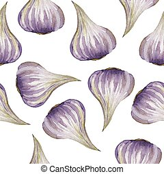 Garlic - Hand Painted Watercolour - Culinary herbs - hand...