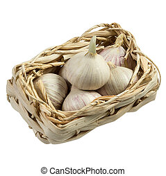 Garlic in a basket isolated on white