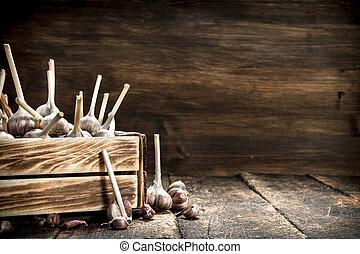 Garlic in an old box.