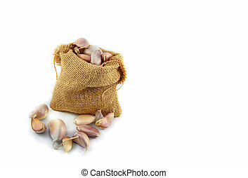 garlic in sack isolated on white background