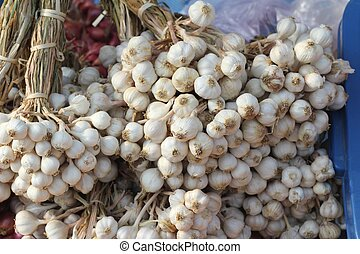 Garlic in the market for cooking