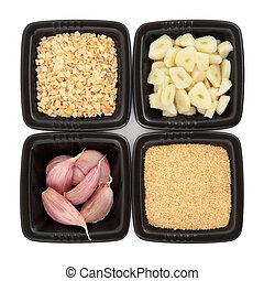 Garlic Ingredients - Garlic cloves whole and chopped, flakes...