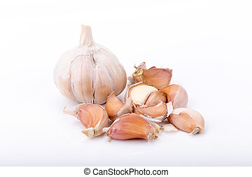 garlic isolated on white background.