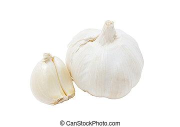 Garlic isolated on white background .