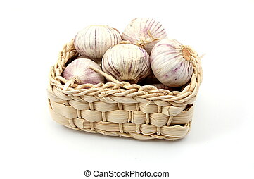 garlic isolated on white - garlic in a basket isolated on ...