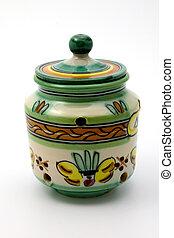 Isolated ceramic garlic keeper