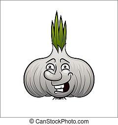 Garlic logo in flat style.