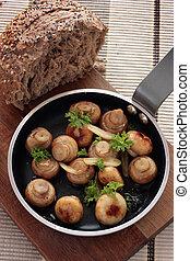 Garlic mushrooms - Button mushrooms in a garlic butter