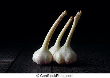 garlic on a dark background