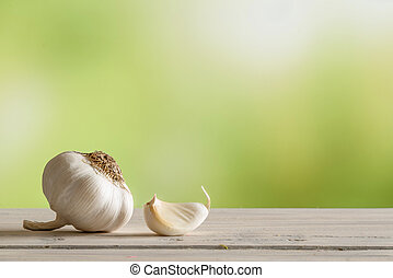 Garlic on a kitchen table