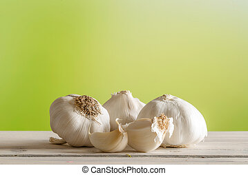 Garlic on a wooden table