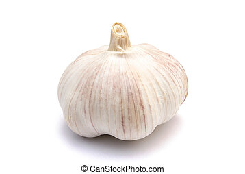 garlic on white with clipping path