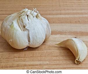 Garlic on wood close up