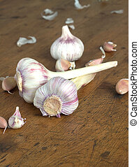 Garlic on wooden background