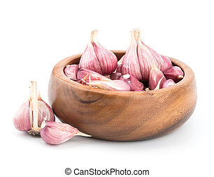 Garlic on wooden bowl of white background