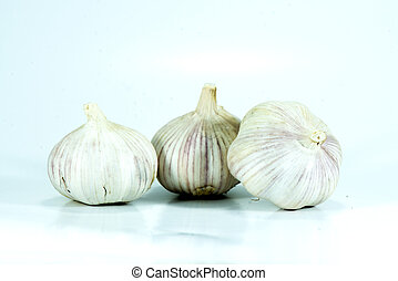 Garlic over a white background