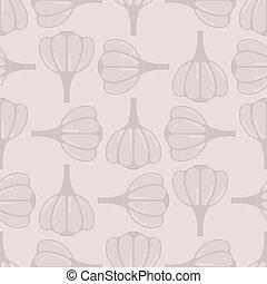 Garlic pattern seamless. Vegetable background. Vector texture